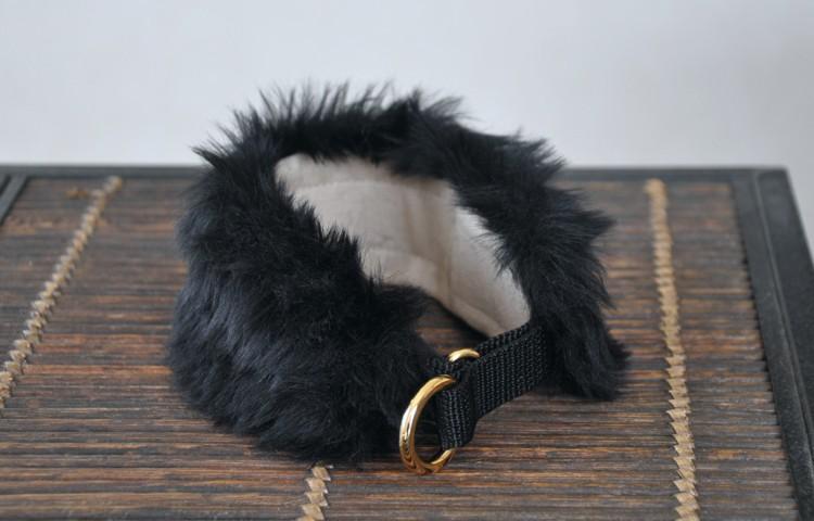 フェイクファー ハーフチョーク首輪:モハモハチョーク短毛種/黒